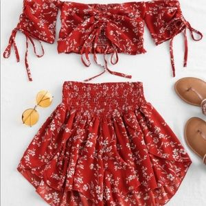 Red floral two piece shorts and top set